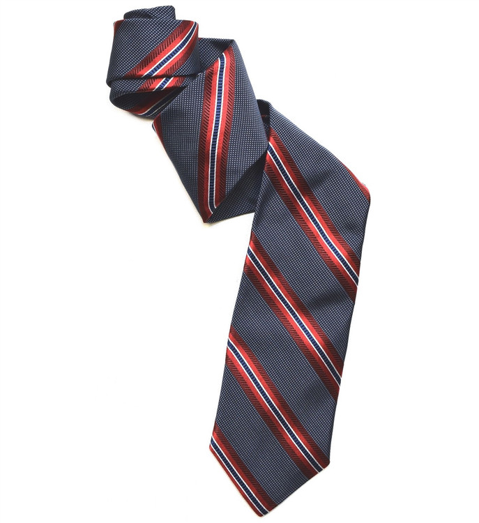 Best of Class Navy and Red Stripe 'American Classic' Woven Silk Tie by Robert Talbott