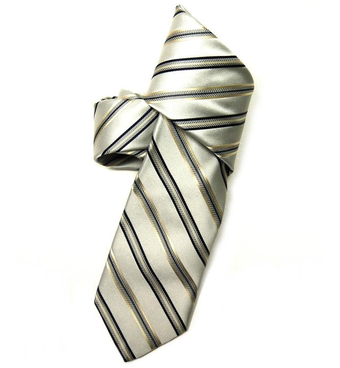 Best of Class Silver Stripe 'Wall Street' Woven Silk Tie by Robert Talbott