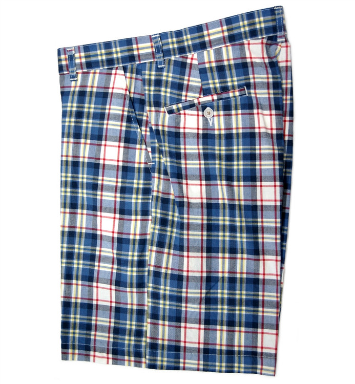 Retro Plaid Parker Short in Blue (Size 32) by Bills Khakis