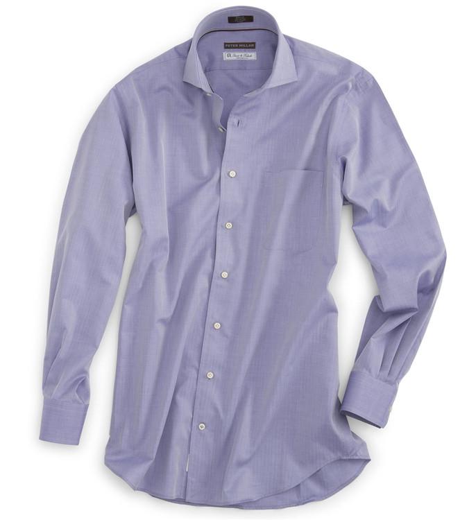 The Ultimate Herringbone Dress Shirt in Navy (Size Medium) by Peter Millar
