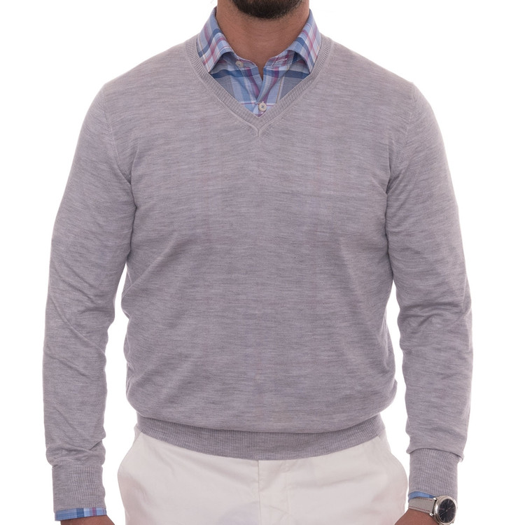 'Pasadera II' Estate V-Neck Cashmere and Silk Sweater in Medium Heather Grey by Robert Talbott