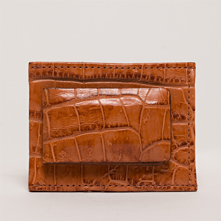 Magnetic Money Clip Wallet in Tan Alligator by Moore & Giles