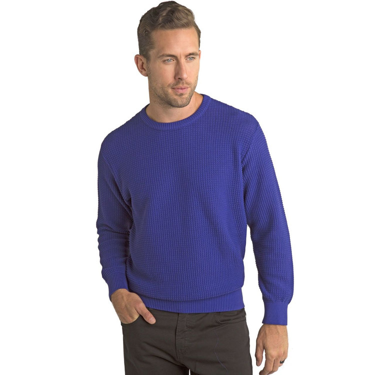 'Popcorn Stitch' Dimensional Cotton Blend Crewneck Sweater in Mercury (Size Large) by St. Croix