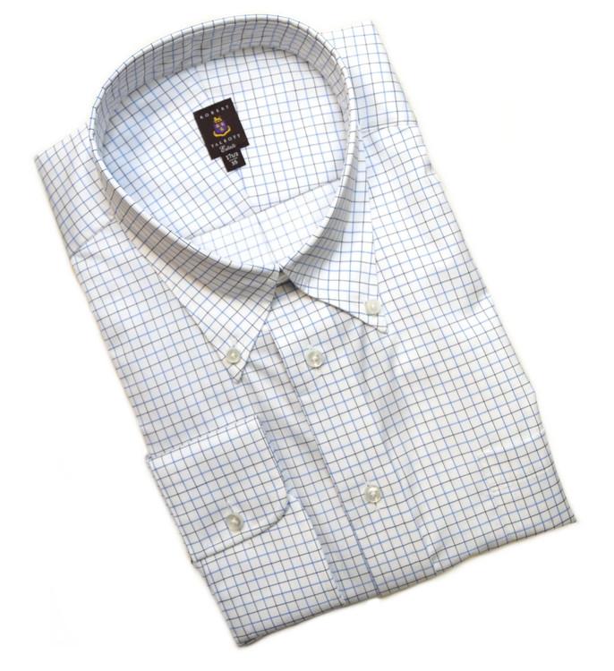 Navy, Blue, and White Check Estate Dress Shirt (Size 16 1/2 - 34) by Robert Talbott