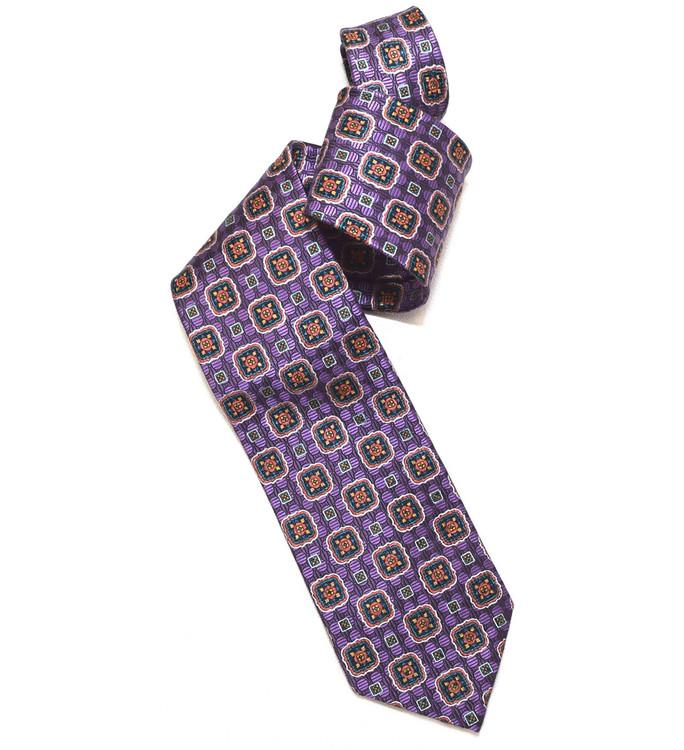 Lavender, Orange, and Blue 'Yarn Dyed' Overprint Seven Fold Silk Tie by Robert Talbott