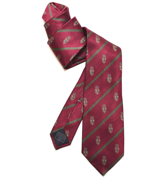 Burgundy, Green, and Tan Silk Club Tie by Robert Jensen
