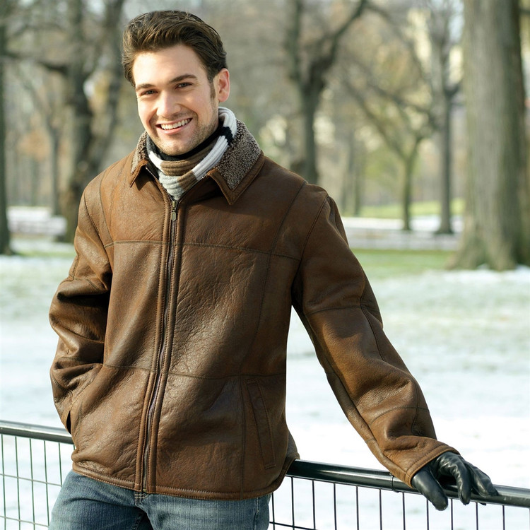 'Gareth' Babylamb Shearling Car Coat in Outback Napa (Size X-Large) by Knight of New Zealand