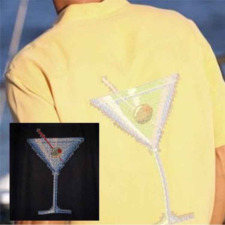 'Digitini' Embroidered Silk Resort Shirt in Black by Tori Richard