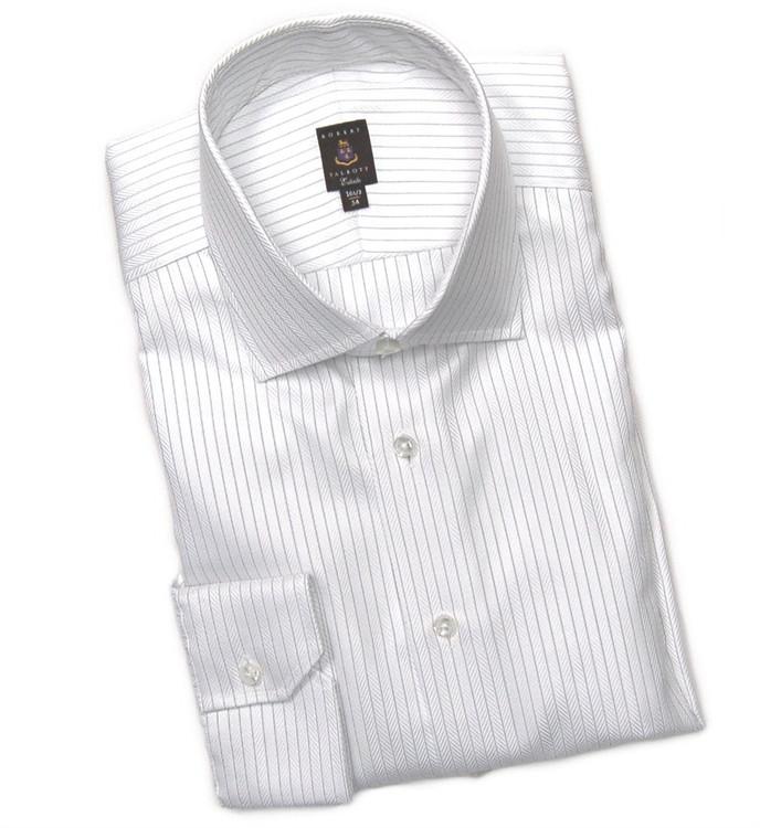 White and Navy Herringbone Stripe Estate Dress Shirt by Robert Talbott