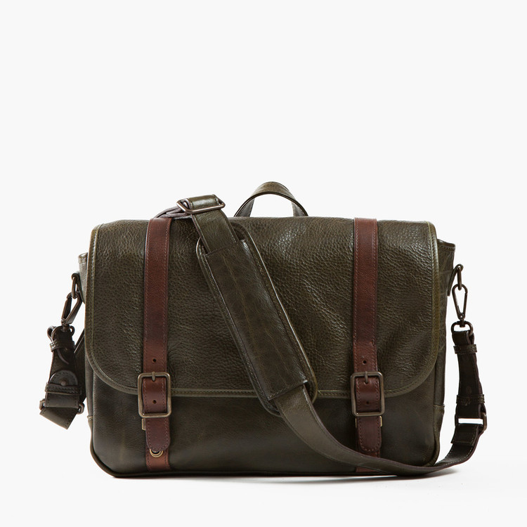 Carlton Courier Bag in Titan Milled Olive by Moore & Giles