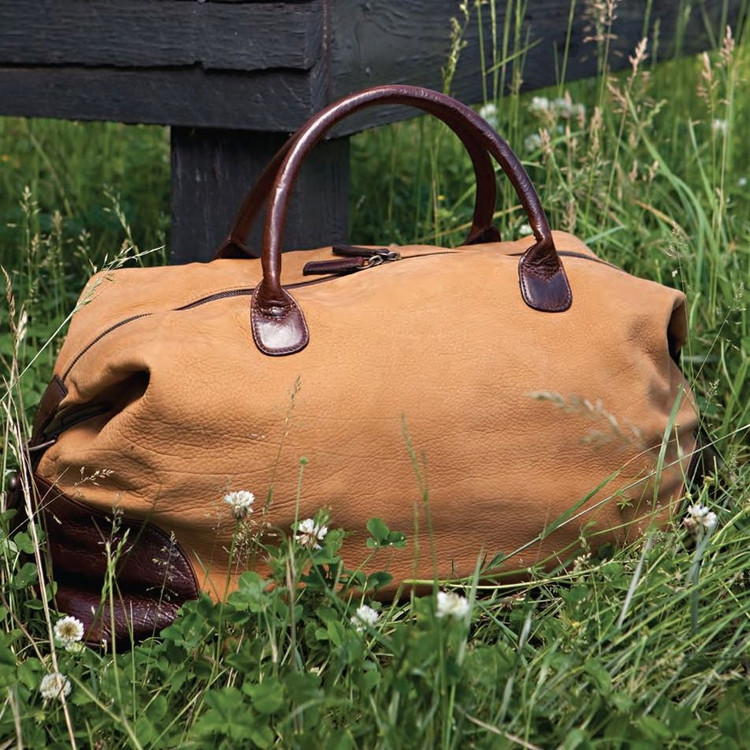 Benedict Weekend Bag in Nubuck Bison Tan by Moore & Giles