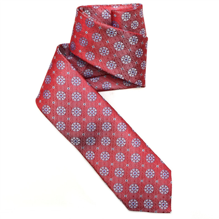 Red, Grey, and Navy Geometric Medallion Woven Silk Tie by Robert Jensen