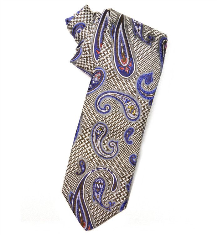 Best of Class Houndstooth Paisley 'End on End Jacquard' Woven Silk Tie by Robert Talbott