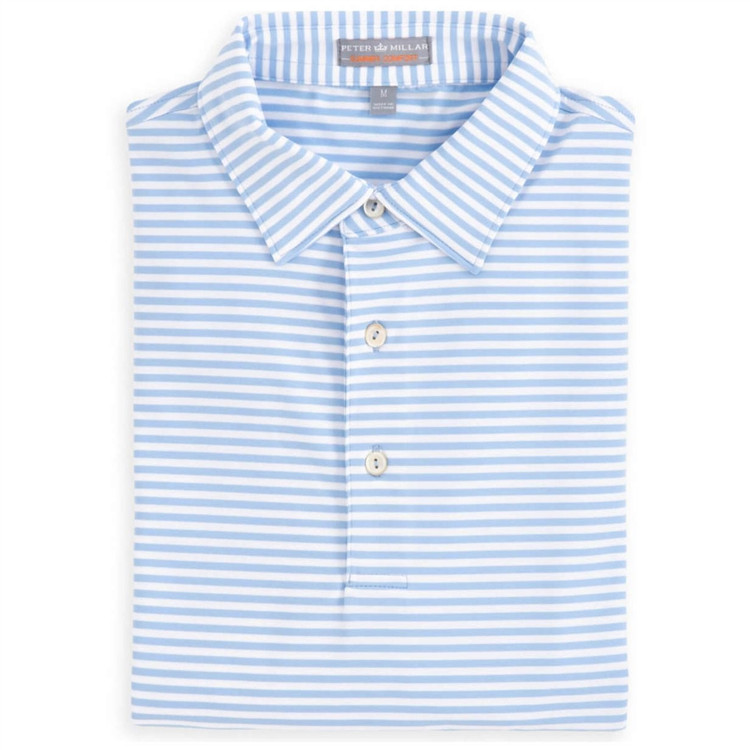 Competition Stripe E4 Summer Comfort Stretch Jersey Polo with Self Collar in Cottage Blue by Peter Millar