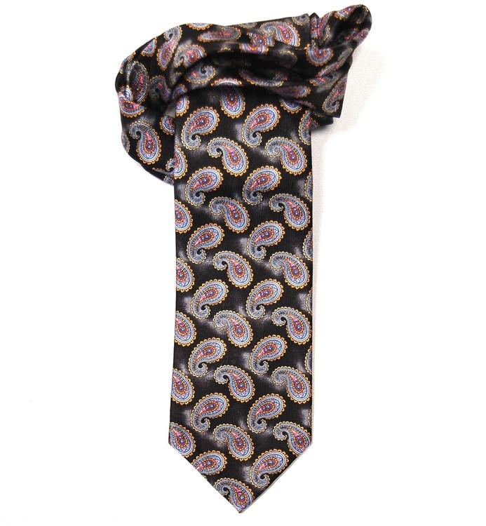 Black and Pink Paisley Overprint 'Villa Fiori' Seven Fold Silk Tie by Robert Talbott