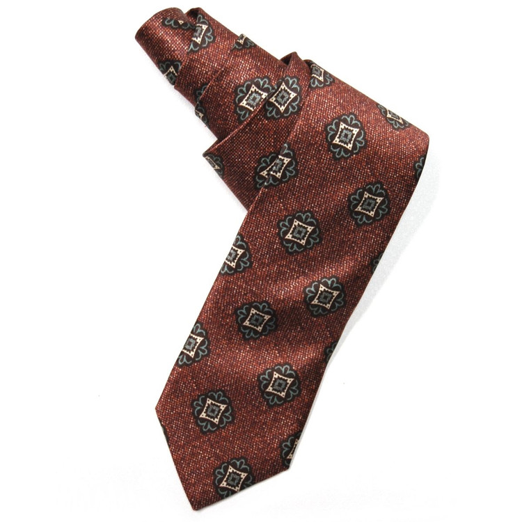 'Saxony Print' Silk Estate Tie in Rust, Brown, and Seafoam by Robert Talbott