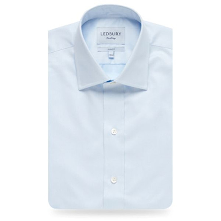 The Blue Fine Twill Mid-Spread Dress Shirt by Ledbury
