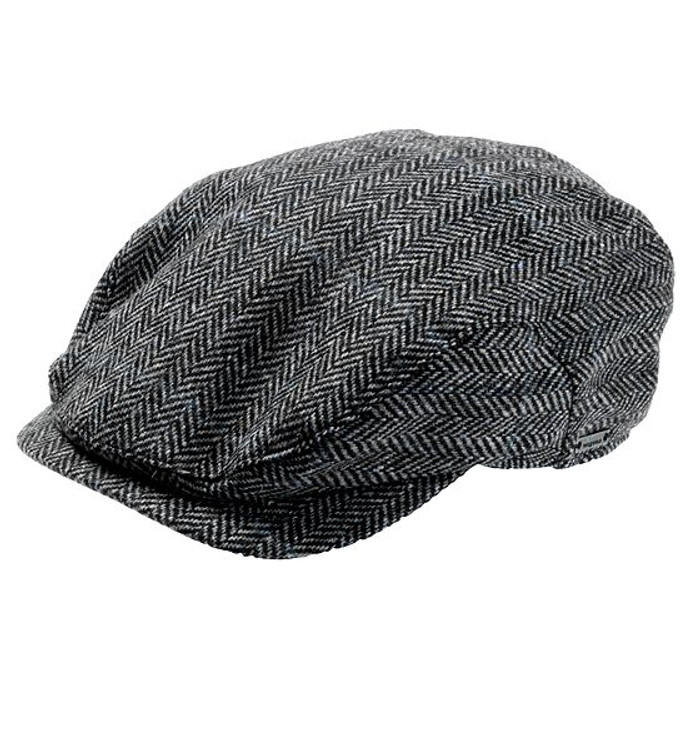 'Jacob' Herringbone Ivy Cap in Grey and Blue (Size 57) by Wigens