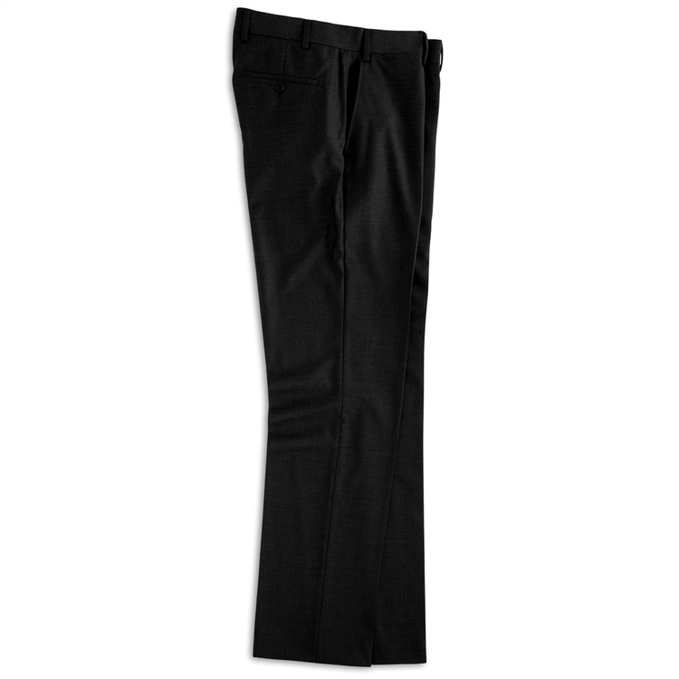 Super 110s Wool Flat Front Trouser in Black (Size 34 and 35 Only) by Peter Millar