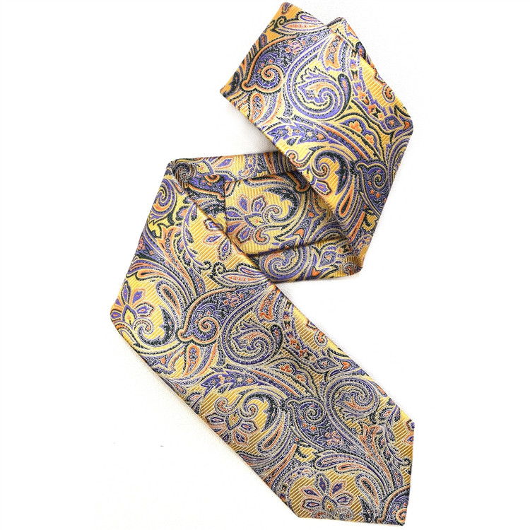 Lemon, Green, and Purple Paisley Woven Silk Tie by Robert Jensen