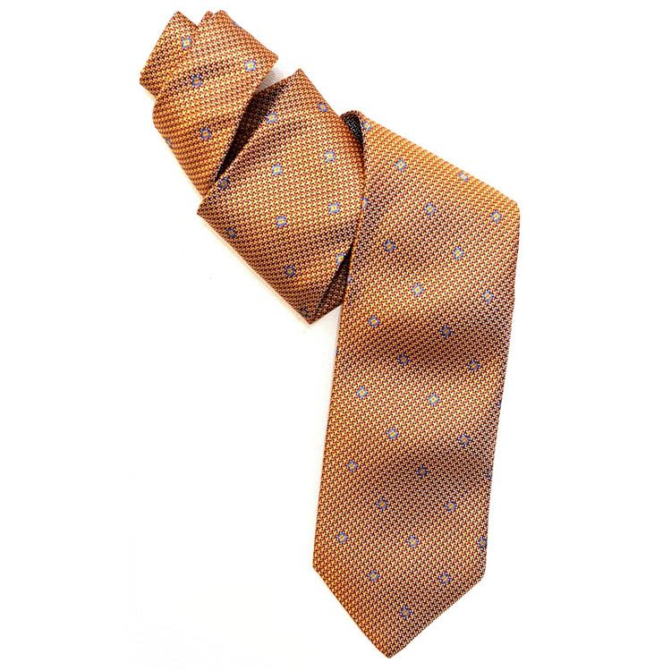 Best of Class Orange and Gold 'Venture' Woven Silk Tie by Robert Talbott