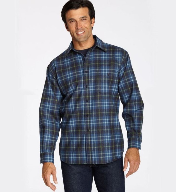 Bright Blue Plaid Elbow-Patch Trail Shirt by Pendleton
