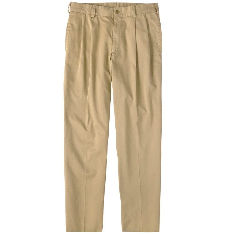 Chamois Cloth Pant - Model M2P Standard Fit Reverse Pleat in Camel by Bills Khakis