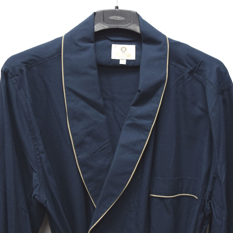 Gentleman's Genuine Cotton and Wool Blend Robe in Solid Navy with Tan Piping (Size Medium) by Viyella