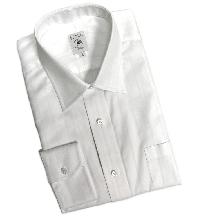 White-on-White Herringbone Stripe Estate Dress Shirt by Robert Talbott