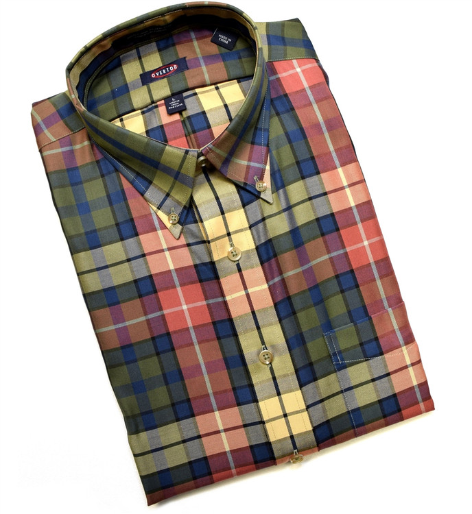 Green, Red, and Navy Plaid Button-Down Wrinkle Free Sport Shirt (Size Large) by Overton