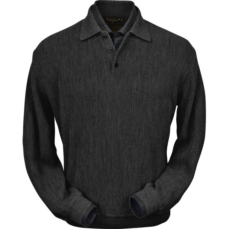 Baby Alpaca Link Stitch Polo Sweater with Ribbed Bottom in Charcoal Heather by Peru Unlimited