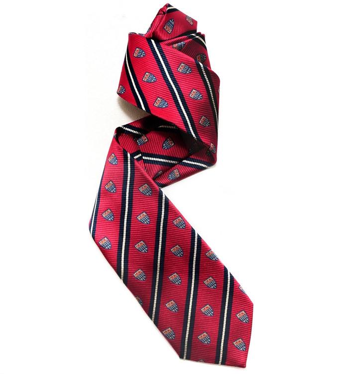 Red and Navy Silk Club Tie by Robert Jensen