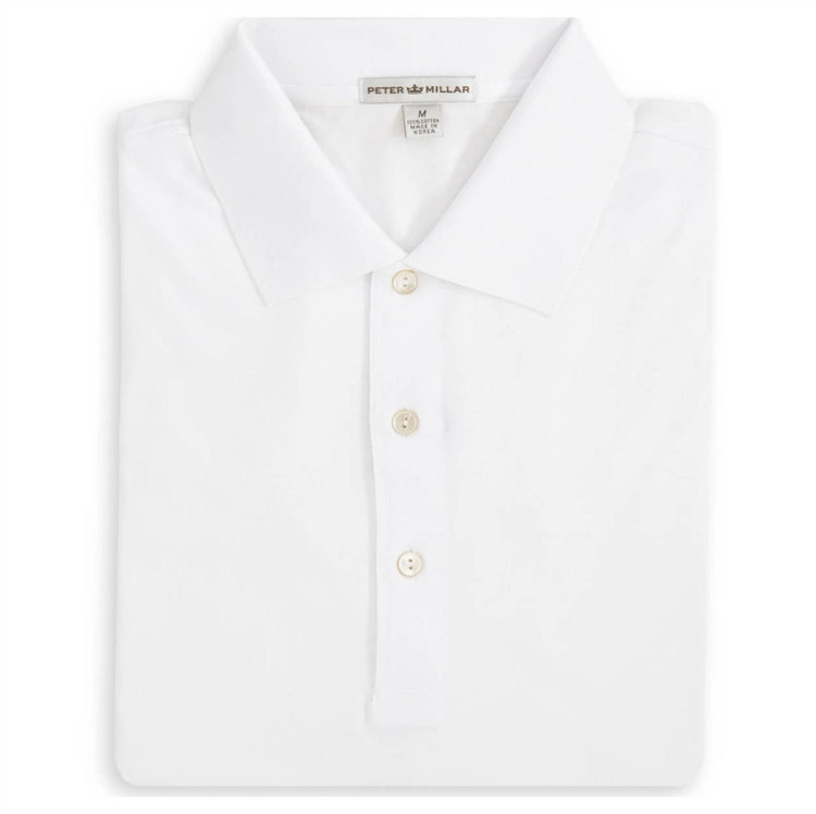 Solid Egyptian Cotton Lisle Polo in White by Peter Millar
