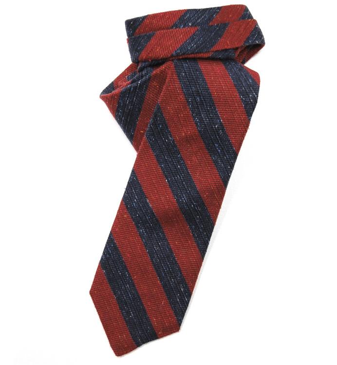 Best of Class Red and Navy Stripe 'Seasonal Classic' Woven Raw Silk Tie by Robert Talbott