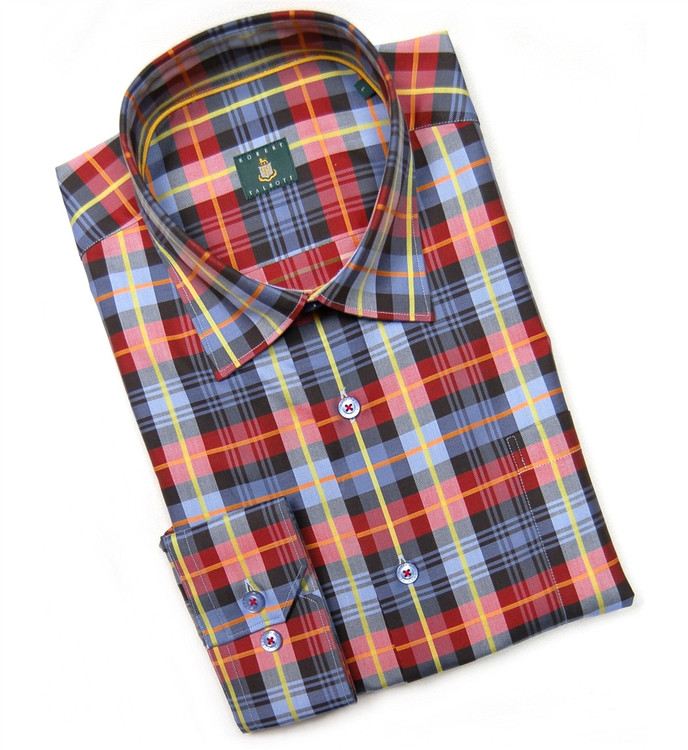 Chili, Navy, and Blue 'Anderson' Check Sport Shirt (Size XX-Large) by Robert Talbott