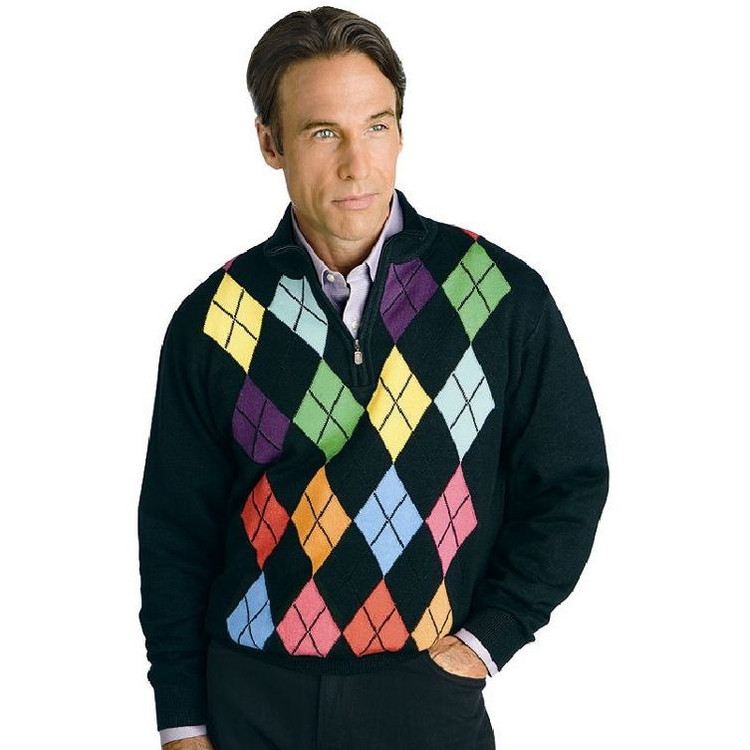 The Hansen's Signature Sweater - Cashmere and Silk Argyle Half-Zip Pullover (Size Large) by St. Croix