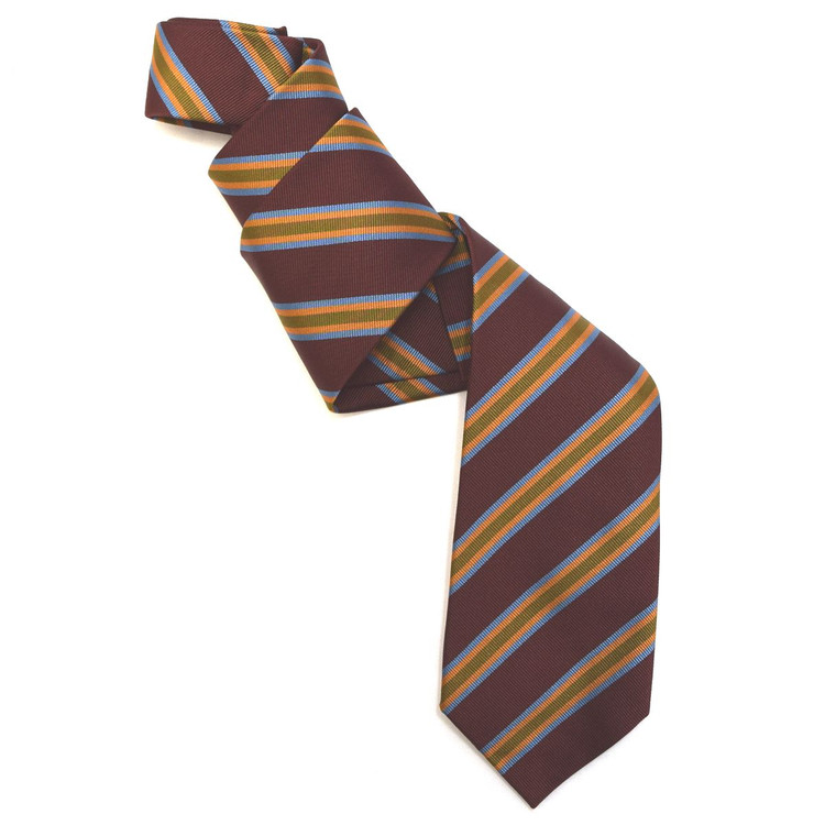 Burgundy, Olive, and Gold Silk Faille Repp Tie by Robert Jensen
