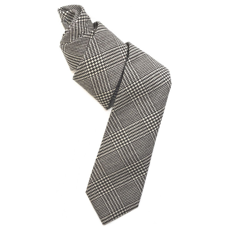 Black, Brown, and Cream Houndstooth Woven Wool Tie by Robert Jensen
