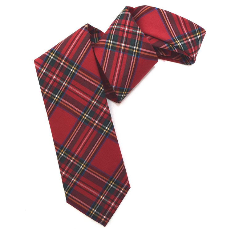 Red Tartan Woven Wool Tie by Robert Jensen