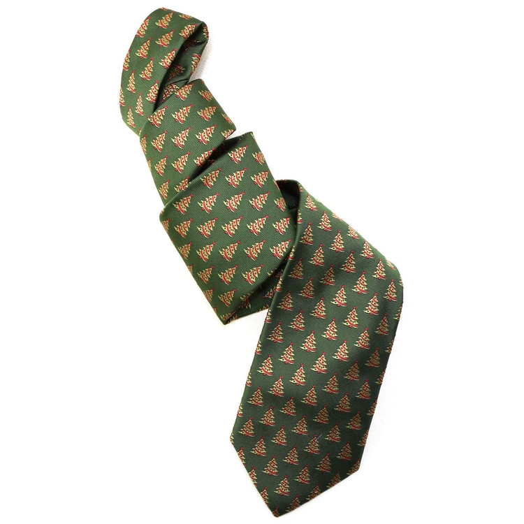 Best of Class Green Christmas Tree 'Holiday Club' Woven Silk Tie by Robert Talbott