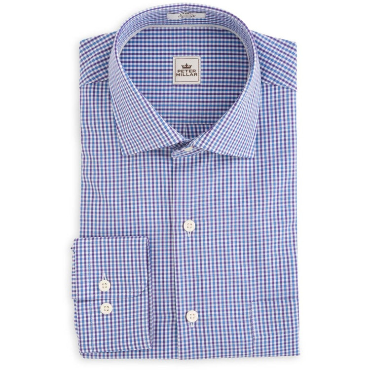 Monterey Multi-Check Sport Shirt in Snapdragon (Size Large) by Peter Millar