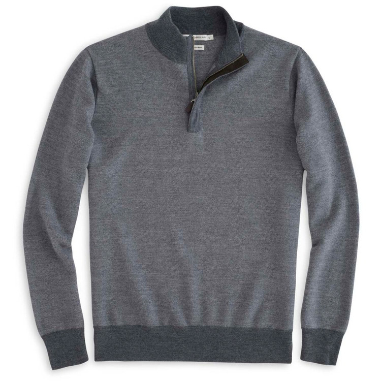 Suede Trimmed Quarter-Zip Sweater in Charcoal (Size Medium) by Peter Millar