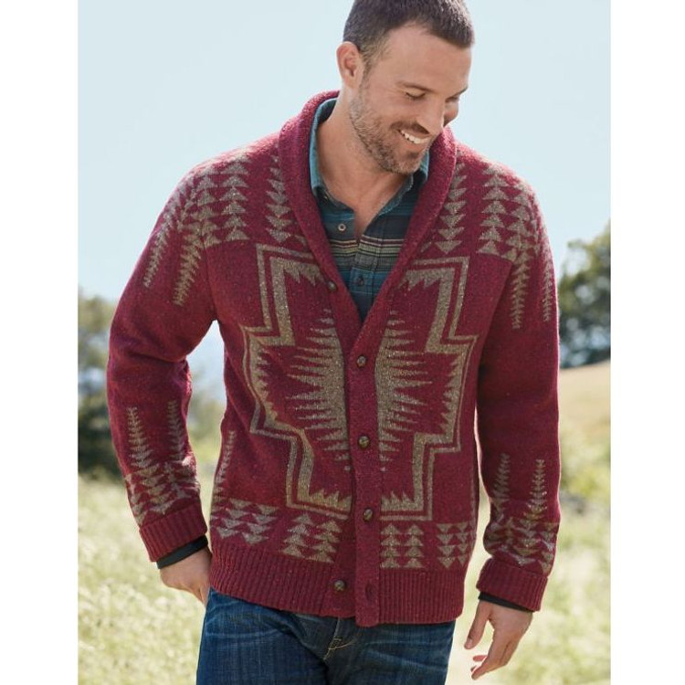 Harding Shawl Collar Cardigan Sweater in Maroon (Size Large) by Pendleton