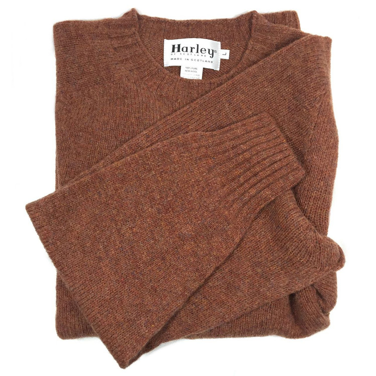 Shetland Saddle Shoulder Crew Neck Sweater in Sienna by Harley of Scotland