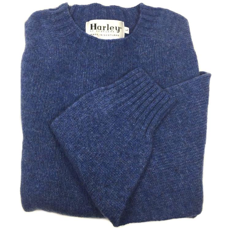 Shetland Saddle Shoulder Crew Neck Sweater in Blueprint (Size XX-Large) by Harley of Scotland