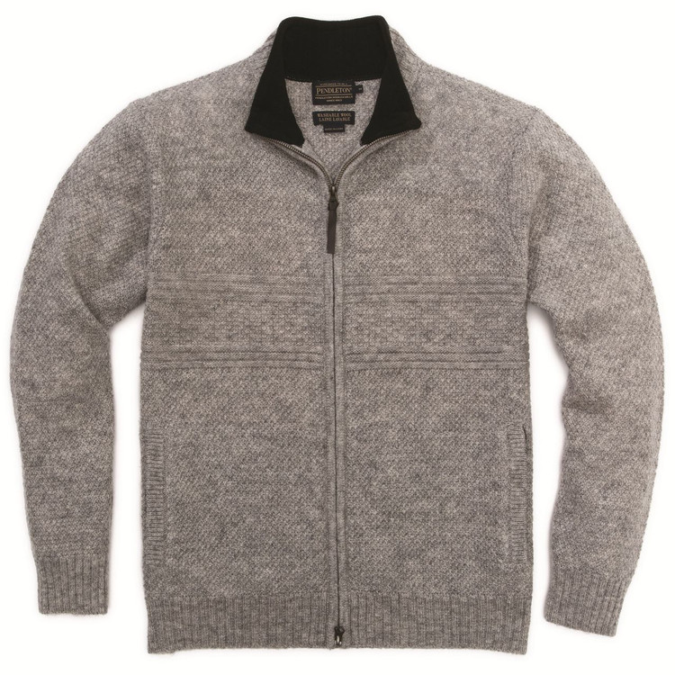 Shetland Zip-Front Cardigan in Grey Heather by Pendleton