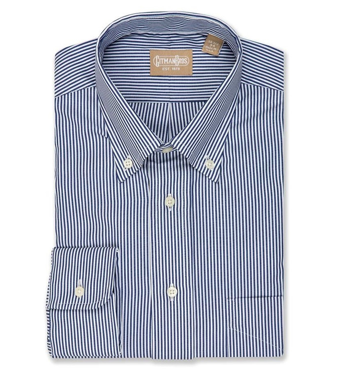 'Gitman Gold' Bengal Stripe Broadcloth Shirt in Navy (Size 16 - 35) by Gitman Brothers