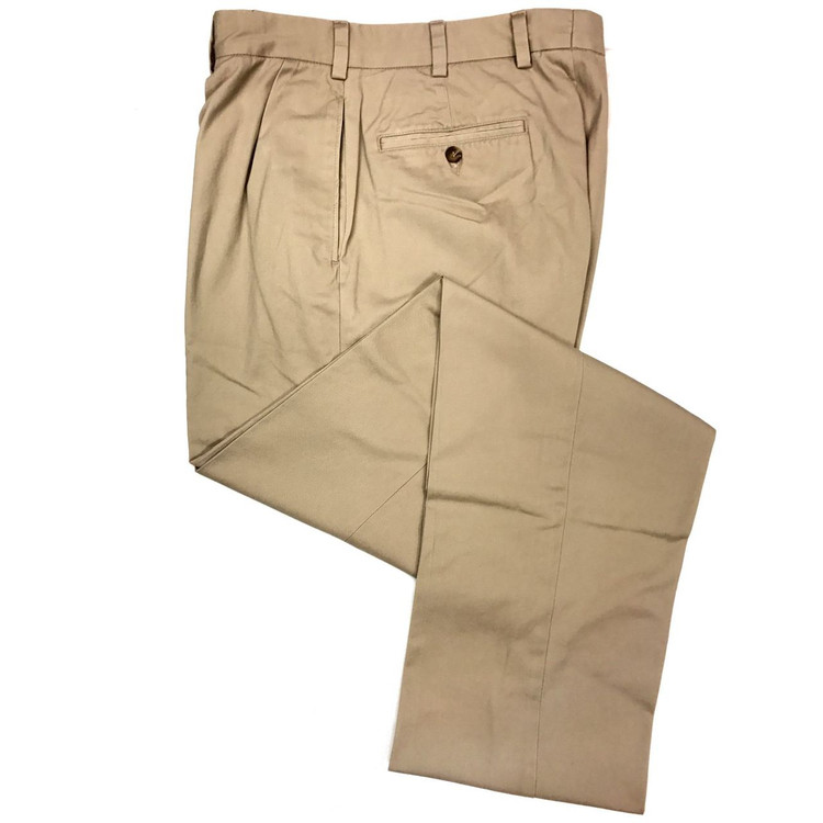 Vintage Twill Pant - Model F1P Relaxed Fit Forward Pleat in British Tan (Size 44 Only) by Hansen's Khakis