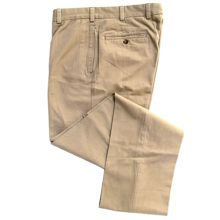 Vintage Twill Pant - Model F1 Relaxed Fit Plain Front in British Tan (Sizes 35 and 39 Only) by Hansen's Khakis