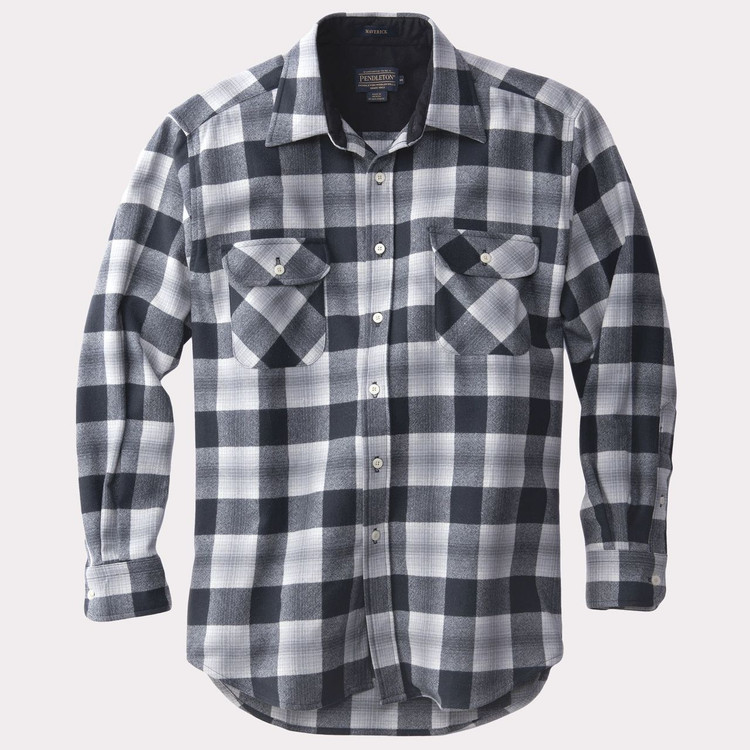Ultra-Fine Merino Maverick Shirt in Midnight and Black Plaid by Pendleton
